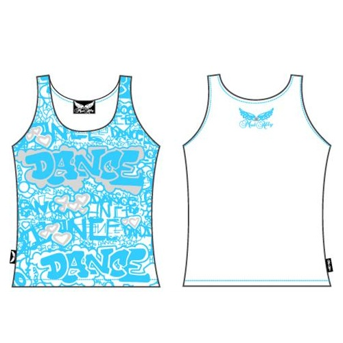 Mad Ally Blue Graffiti Singlet