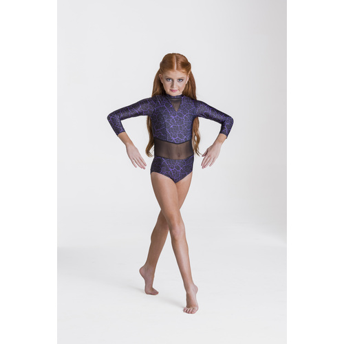 Studio 7 Storm Leotard Child Size; Large Colour; Black/Purple